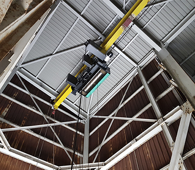 Eurobloc VT Open Electric Wire Rope Hoist on a monorail beam