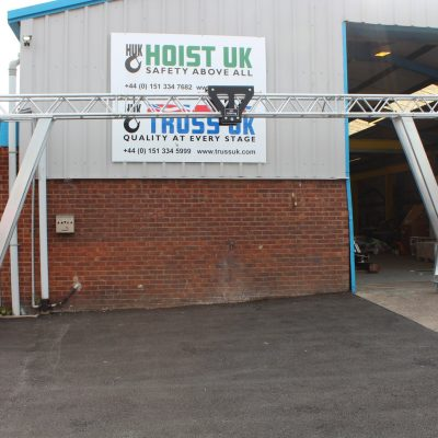 Bespoke Truss Gantry Crane with 7 Span for low headroom operation and Stagemaker Entertainment Rigging Hoist