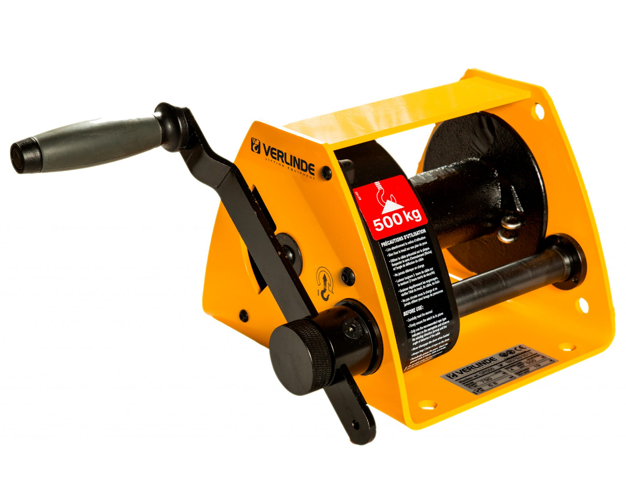 Wall Mounted, Hand Driven Manual Worm Gear Winch