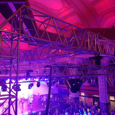 Rigging Motors used with Truss Ground Support System for raising and lowering lighting and sound installations in an event venue